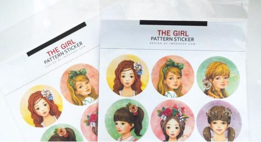 Round Paper Sticker 2 Sheets pretty Girls 4cm diameter ss1035 - CharmTape - 2