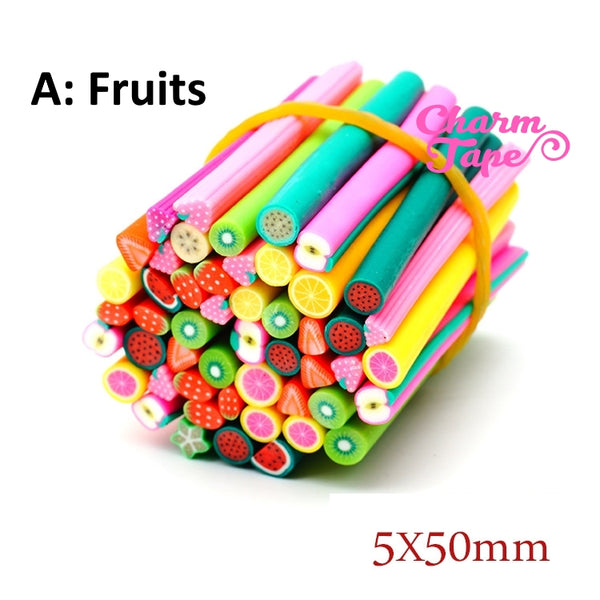 50 pieces 5mm Fimo Clay Sticks Cranes - Fruit / Heart / Cakes For Decorating Assorted Mixed Sexy Nail Art Manicure Deco Earring Scrapbooking