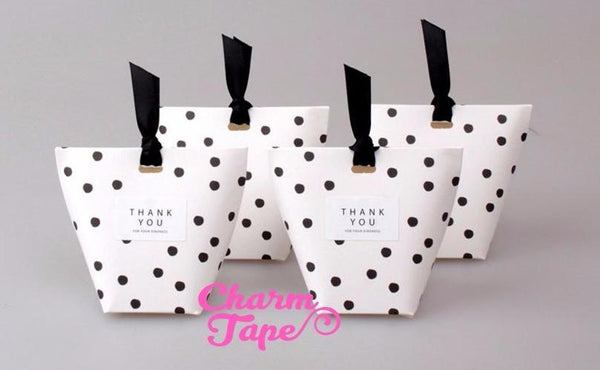 Festive Black Dots Simple Gift Box with Black Ribbon Packaging Party Favors 5/20 counts PB014