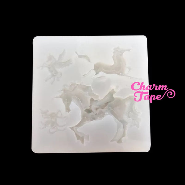 Unicorn Horse Silicone charm Silicon mold flexible, for polymer clay, resin jewelry Q021