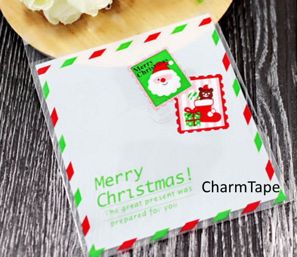 Festive Santa Gift Bags Cello Bags Self-adhesive Cookie bags - Favors Bags - Party bags Set of 20 bags CB5 - CharmTape