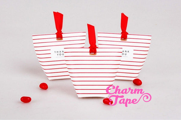 Festive Red Stripes Simple Gift Box with Red Ribbon Packaging Party Favors 5/20 counts PB015