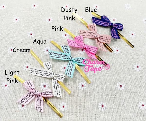 20pcs Ribbon Bow Twist Ties Scribble Tie for Cookie Candy Bags Gift Wrap Packaging