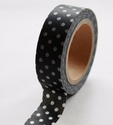 White polka dots on Black Washi Tape Roll 15mm WT27 - CharmTape