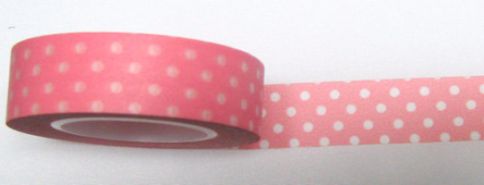 White polka dots on pink Washi Tape Roll 15mm WT27 - CharmTape - 1