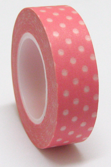 White polka dots on pink Washi Tape Roll 15mm WT27 - CharmTape - 2
