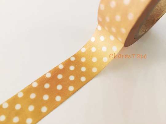 Translucent polka dots on light brown Washi Tape Roll 15mm WT735 - CharmTape - 1