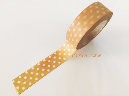 Translucent polka dots on light brown Washi Tape Roll 15mm WT735 - CharmTape - 2