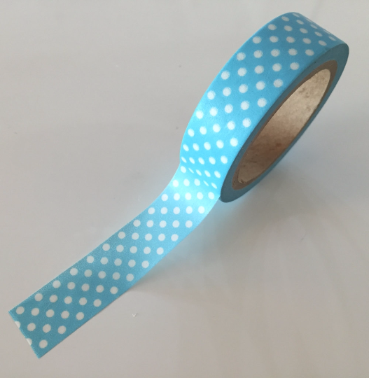 Sky Blue Washi tape with translucent polka dots - 15mm x 10m WT709 - CharmTape - 2