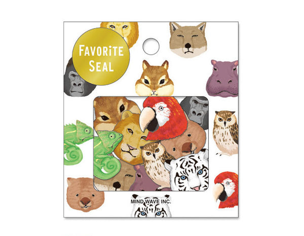 Zoo animals Sticker Flakes Set 70 Sheets Mindwave Japan SS912 - CharmTape - 1