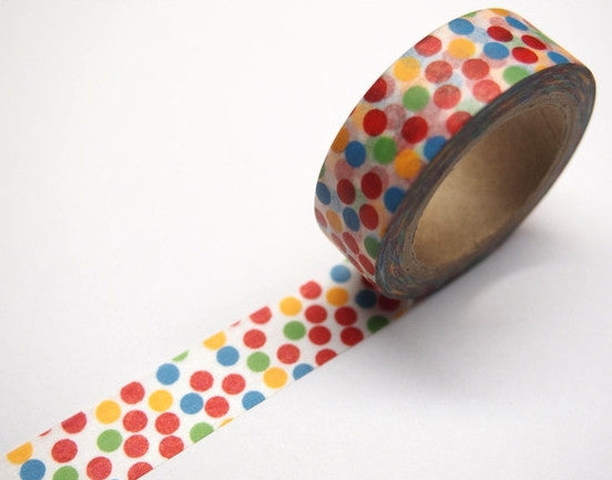 Washi tape - Colorful Party dots - 15mm Wide - 11 yards  WT394 - CharmTape