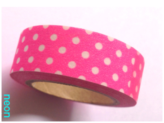 Polka dots on neon pink Washi Tape 10m x 15mm WT355 - CharmTape - 1