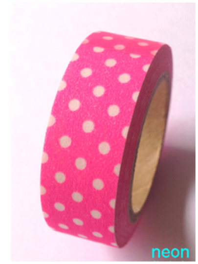 Polka dots on neon pink Washi Tape 10m x 15mm WT355 - CharmTape - 2