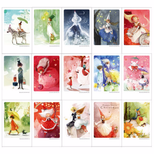 Festive Holiday Mini Postcard (Tin Case 40 sheets) kim min ji edition