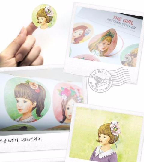 Round Paper Sticker 2 Sheets pretty Girls 4cm diameter ss1035 - CharmTape - 4