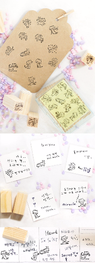 Cat Stamps Set / Cute Wooden Kitten Stamps Set / Planner Stamps 12 pieces