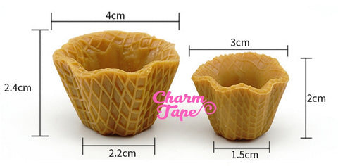 Miniature waffle bowl Ice cream sundae cups - for making fake food charms - 3 pieces set