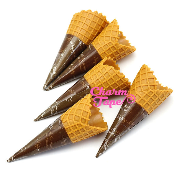 Fake Food - 65mm Faux Ice Cream Cones - for making fake food charms miniature - 5 pieces set
