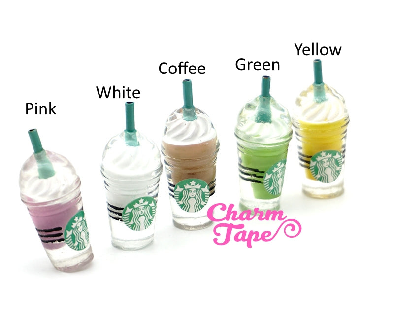 Miniature frappuccino Starbucks cups, set of 2, iced coffee, drinks, accessories accessory for mini garden Logo Bottle Flat back M013