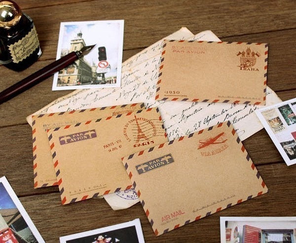 C6 Kraft Envelopes Vintage Chop By Air BIG size 10pieces