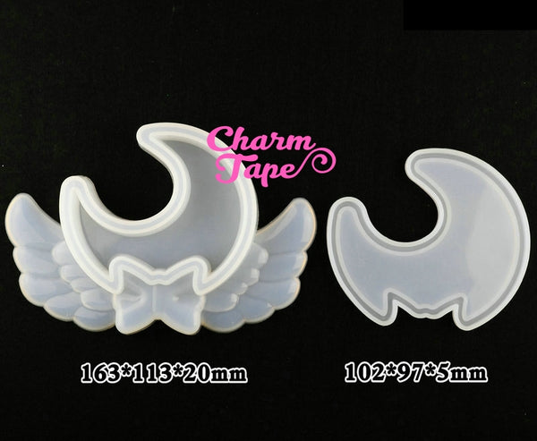 Magical Moon with Wing Trinket Box Silicon silicone mold flexible, for polymer clay, resin jewelry S167