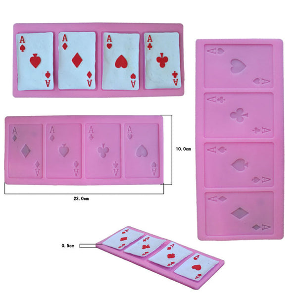 Four aces cards Silicone Mold -food mold / uv resin molds C135 4 cavity