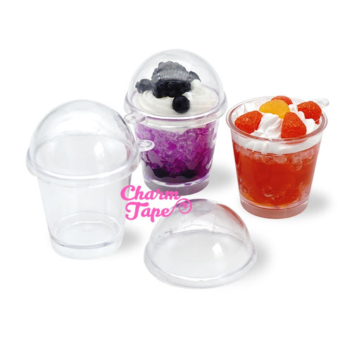 Miniature Dessert Cup Cabochons Ice cream sundae cups - for making fake food charms - 3 pieces set
