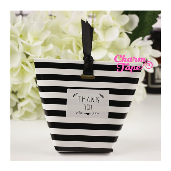 Festive Black & White Stripes Simple Gift Box with Black Ribbon Packaging Party Favors 5/20 counts PB016