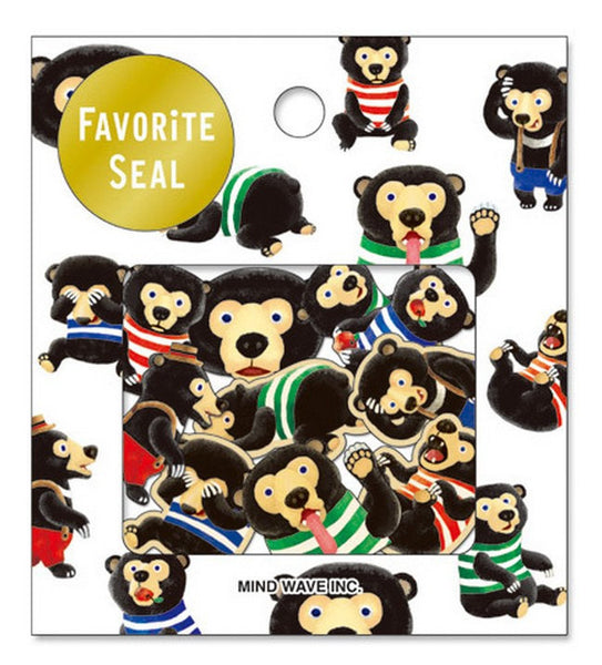 Black Bear Sticker Flakes Set 70 Sheets Mindwave Japan SS905 - CharmTape - 1