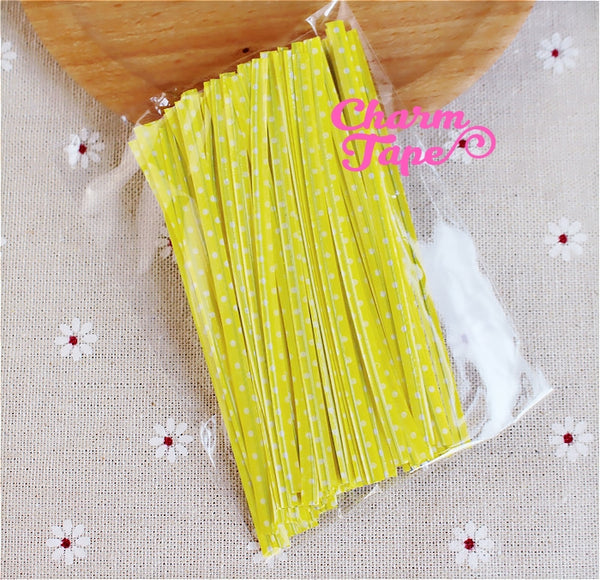 100 pieces Polka Dot Twist Ties Colorful Twist Tie for Cookie Candy Bags Gift Wrap Packaging