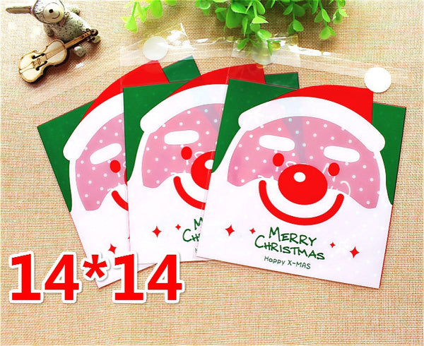 Festive Santa Gift Bags Cello Bags Self-adhesive Cookie bags Set of 20 bags CB9 14x14 cm