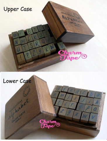 Handwriting Alphabet Wooden Rubber Stamps Capital letters / Lowercase/Uppercase for planner, wedding (wood box, 28 stamps)