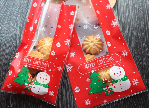 Festive Snowman Gift Bags Cello Bags Cookie bags - Favors Bags - Party bags Set of 20 bags CB8