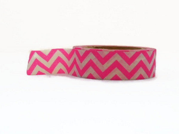 Neon Pink Chevron Washi tape - 15mm Wide - 11 yards WT425 - CharmTape - 2