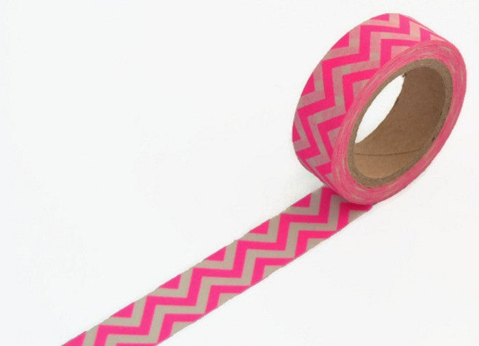 Neon Pink Chevron Washi tape - 15mm Wide - 11 yards WT425 - CharmTape - 1