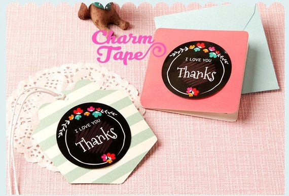 "48/96ct THANKS 1.97"" Round Paper Stickers For Gift Packing Packaging 4/8 sheets GS024"