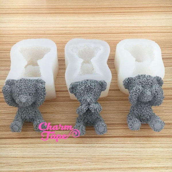 Three Wise Bears silicone mold Food Graded for uv resin /cake/ fondant flexible mold H3895 hear/see/speak no evil