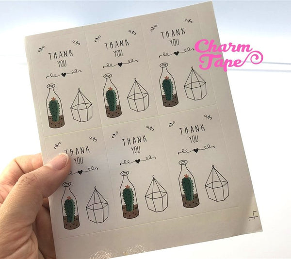 30ct Thank you Cactus Rectangle Paper Stickers For Gift Packing Packaging (3.5x6cm) 5 sheets GS013