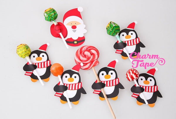Christmas Lollipop / Pencil Holder - Small Gift - Class Gift - Party Favor - Festive Gift 48-50 Lollipop Covers - Santa Claus & Penguin