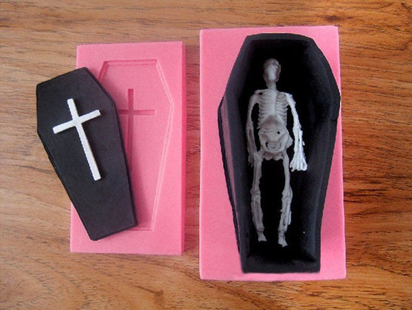 3d Coffin & Skeleton Silicon silicone mold for uv resin / Home Decorations flexible mold H3698
