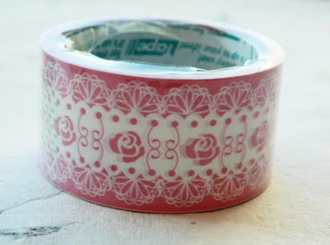 Deco Duct Tape Pink Rose & White Lace 25meters DTB72 - CharmTape - 1