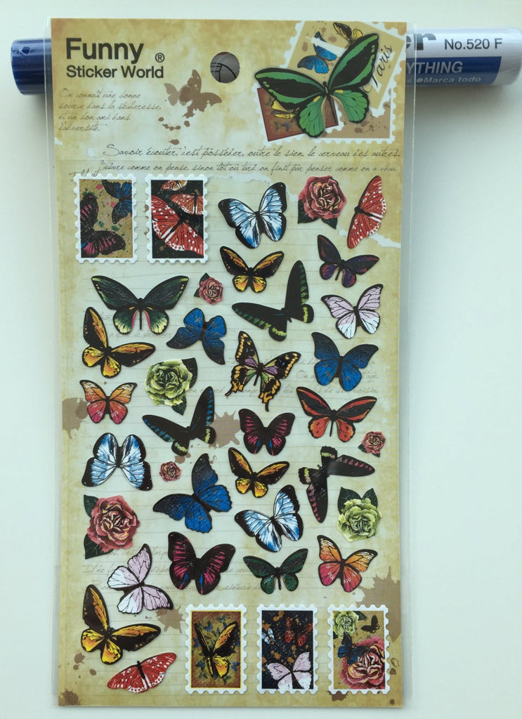 Exotic Butterfly Deco sticker art stickers -1 Sheets Funny SS332