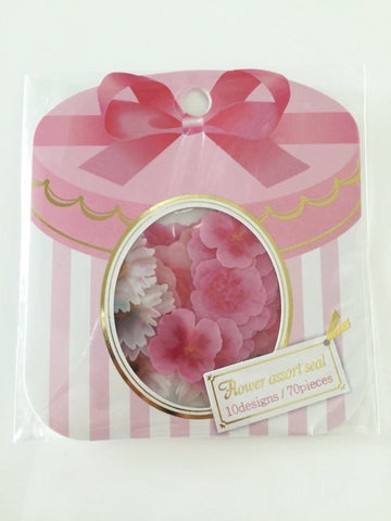 Pink & White Roses Flower Sticker Flakes Set 70pieces Mind wave Japan SS921