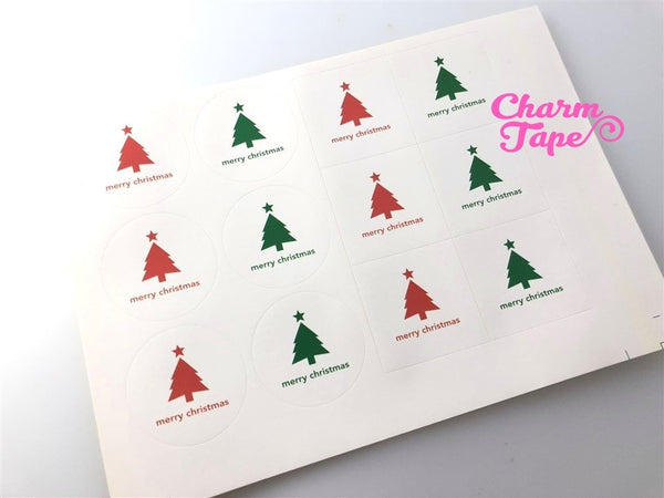 "Festive Trees 1.57"" Round & Square Sticker For Gift Packing Packaging 3/5 sheets GS010"