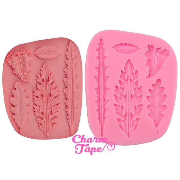 Fern Leaves Food Graded Silicone Mold for Cake, Fondant, Nature Theme Cake Decorating Supplies 5 cavity H3002