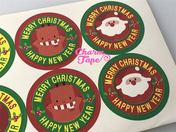 "Festive Santa & Frosty 1.37"" Round Sticker For Gift Packing Packaging 3/10/30 sheets GS007"