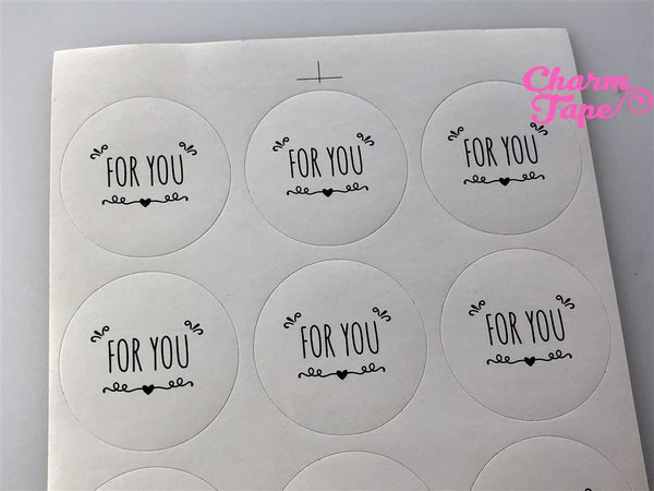"45ct FOR YOU 1.37"" Round Paper Stickers For Gift Packing Packaging 5 sheets GS015"