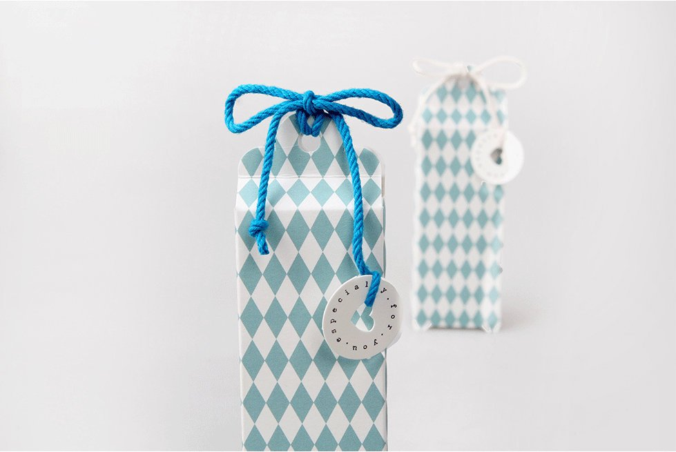 10 Gift Boxes (10 boxes) - Aqua Check packaging box Candy Favor Boxes PB020