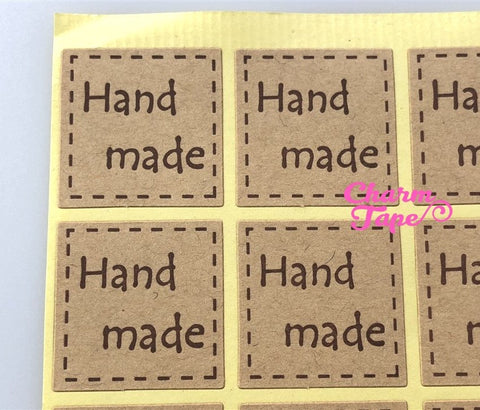 "100/200ct ""hand made"" 2.5x2.5 Kraft Paper Stickers For Gift Packing Packaging 5/10 sheets GS032"
