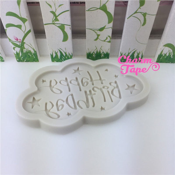 Happy Birthday Food Grade Silicon silicone mold for uv resin /cake/ Fondant flexible mold H3939
